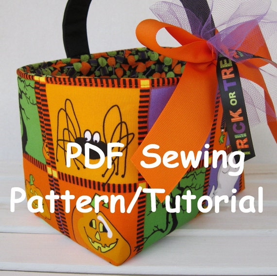 PDF Sewing Pattern/Tutorial -Three Different Looks - Fabric Easter Basket - Fabric Halloween Basket - Fabric Storage Organizer Bin
