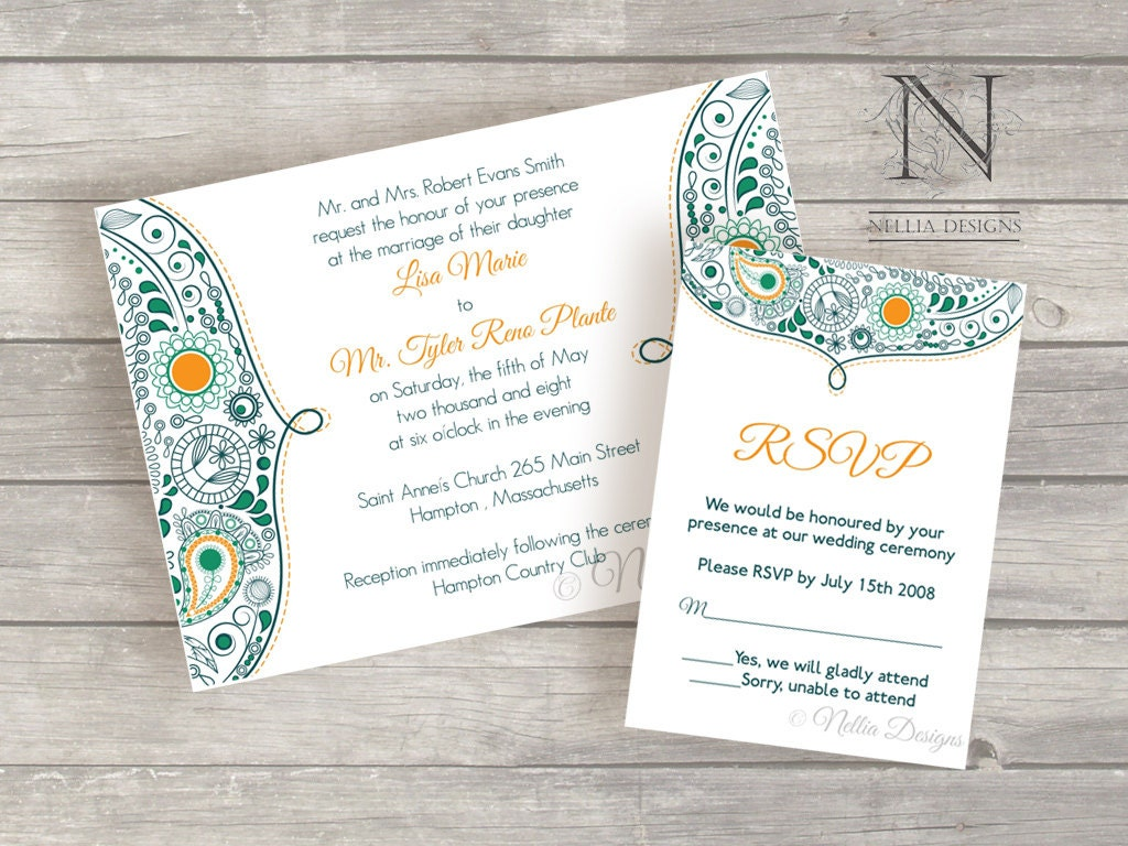 Moroccan Wedding Invitations: Items Similar To Moroccan Paisley Wedding Invitations With