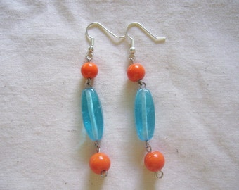 SALE! Turquoise and Orange Glass Beaded Earrings