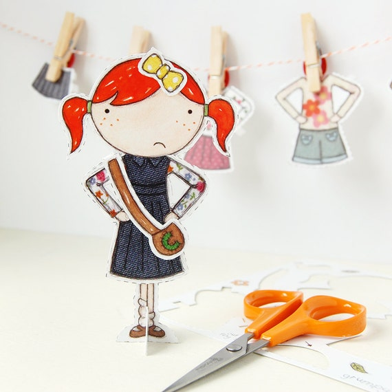 Clara Paper Doll - Dress-up Doll - The Signature Outfits - Postcard Paper Toy