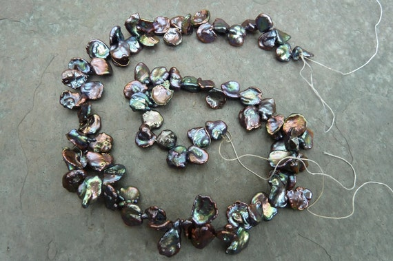For Limitied Time - FREE Shipping - SALE 25% Off Purple Peacock Top Drilled Petal Keshi Freshwater Pearls - One Strand - PK116