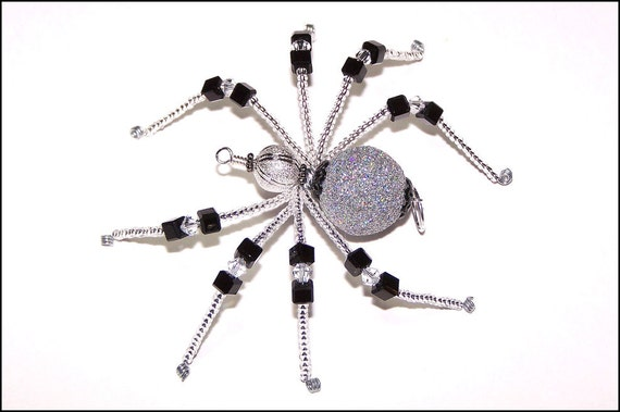 Bee Gee - black and silver glass beaded spider goth sun catcher - Halloween - Christmas ornament