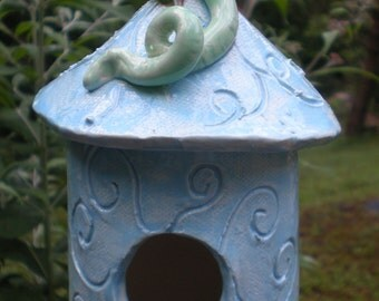 Hand sculpted clay Blue Birdhouse and vine