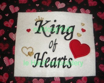 Valentine KING of Hearts Machine Embroidery Applique design 3 sizes each love royal