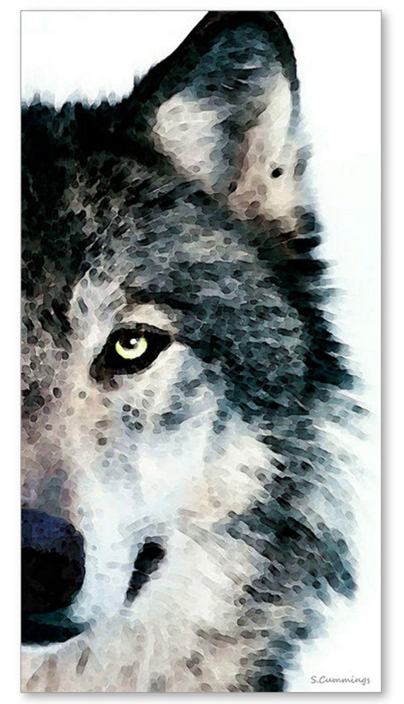wolf art print painting wolves timber woods gray brown animals