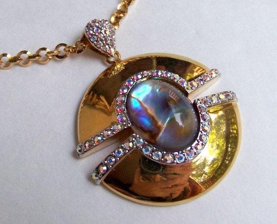 SJK Vintage -- Butler Signed Shiny Gold, Rhinestone, Abalone Modernist Pendant Necklace (1980's)