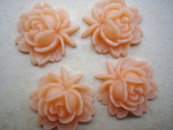 vintage cabochons (4) Japanese peach color rose cabs - 18mm (4)