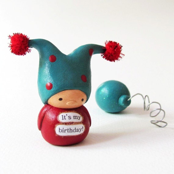 Birthday Gnome and Balloon - a Clay Jester Miniature Art Sculpture by humbleBea