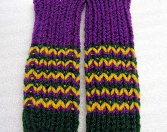 FM031 Hand Knit Mardi Gras Fingerless Mittens  Texting Gloves