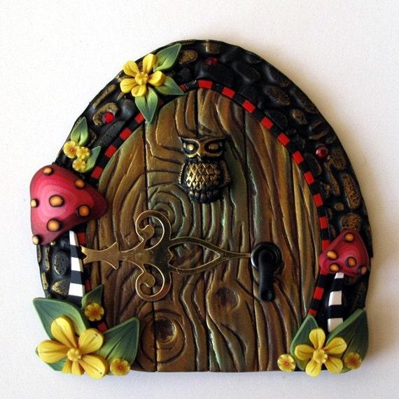Mushroom Fairy Door with a Little Owl
