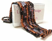 Copper Velvet Sculptural Freeform Beadwoven Cuff Bracelet - Hip to be Square Collection