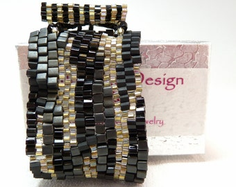 Golden Cobblestones Freeform Beadwoven Cuff Bracelet - Hip to Be Square Collection