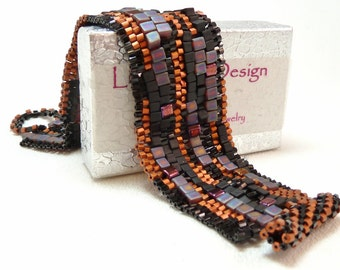 ON SALE - Copper Velvet Sculptural Freeform Beadwoven Cuff Bracelet - Hip to be Square Collection