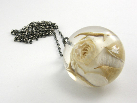 Rose Resin Necklace, Floral Resin Pendant, Silver Oxidized