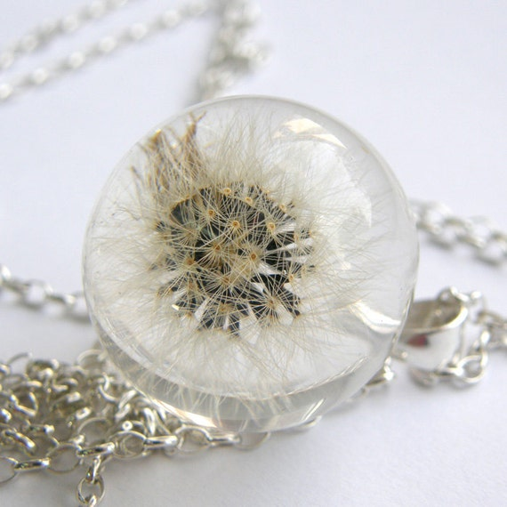 Dandelion Resin and Silver Necklace, Small Dandelion pendant