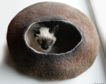Cat Nap Cocoon / Cave / Bed / House / Vessel - Hand Felted Wool - Crisp Contemporary Design - READY TO SHIP Warm Brown Stone