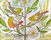 birds in a tree - folk painting - limited edition, archival print of an original watercolor painting by cori dantini