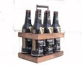 Beer Caddy, Beer Holder, 6 Pack Caddy, Groomsman Gift, Rustic Wood Caddy, Wood Beer Caddy