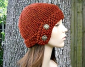 Burnt Orange Womens Hat - Orange Cloche Hat Rust Orange Knit Hat - Orange Hat Orange Beanie Womens Accessories Fall Fashion Winter Hat