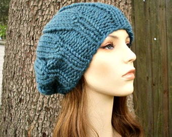 Knit Hat Blue Womens Hat Slouchy Hat - Urchin Beret Hat in Teal Blue Knit Hat - Blue Beret Blue Hat Blue beanie Womens Accessories
