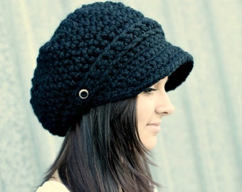Black Hat Black Newsboy Hat Black Crochet Hat Black Womens Hat Black Slouchy Hat Fall Fashion Winter Accessories