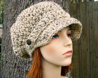 Oatmeal Womens Hat Oatmeal Newsboy Hat - Crochet Newsboy Hat Oatmeal Crochet Hat - Oatmeal Hat Womens Accessories
