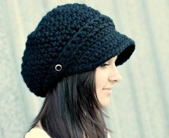 Black Hat Black Newsboy Hat Black Crochet Hat Black Womens Hat