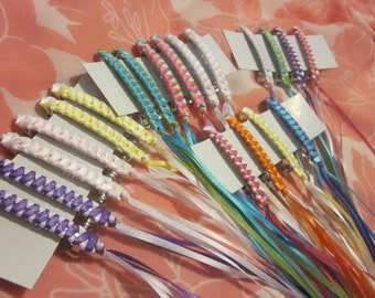 Retro Braided Ribbon Barrettes Party Pack of 6 YOUR COLOR CHOICES