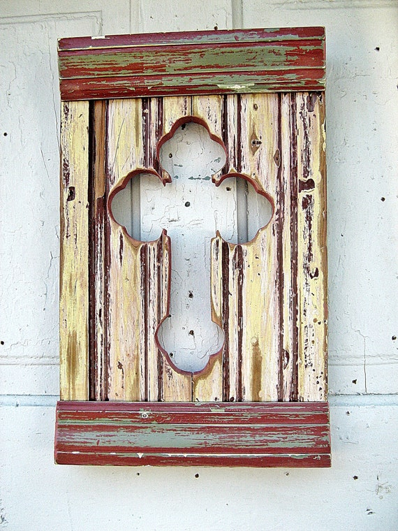 Serbian Wall Cross Reclaimed Wood Yellow Red Distressed Negative Space