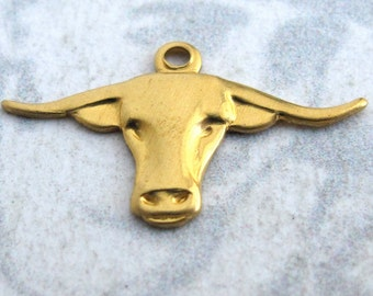 Brass Bull Charms (12X) (M742)