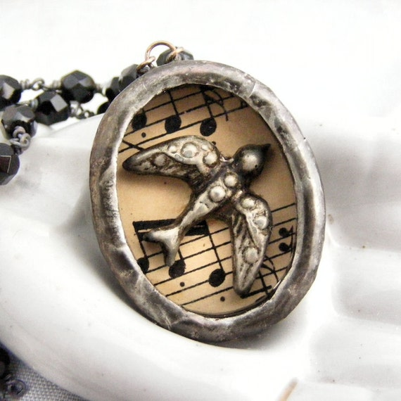 Bird Shadow Box Necklace Wire Wrapped Chain