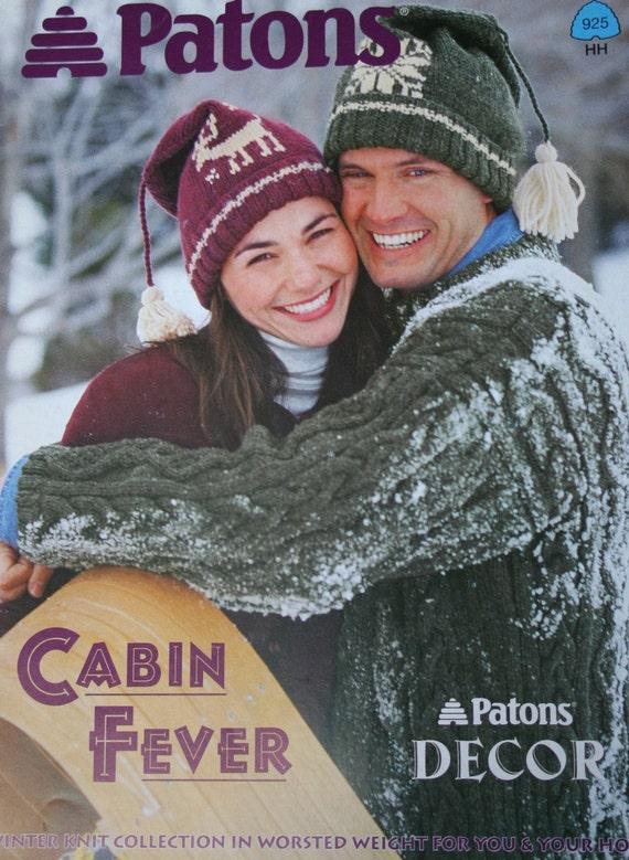 Sweater Knitting Patterns Hats Mittens Headband Cabin Fever Patons 925 Worsted Weight Yarn Men Women Christmas Paper Original NOT a PDF
