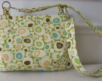 Handmade Mini Zippered Handbag in Green Dot Design