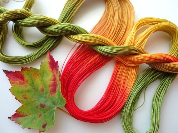 "Hand dyed tatting crochet thread size 20 ""Sugar Maple"""