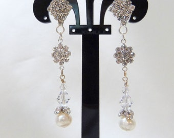 Swarovski Crystal Flower and Freshwater Pearl on Rhinestone Post Earrings