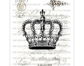 Art Print  Vintage Crown. French Pairs. 11 x 14 inches.  Handmade by  The Decorated House