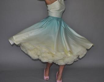 Items similar to one shoulder aqua ombre siren dress tea for One shoulder tea length wedding dress