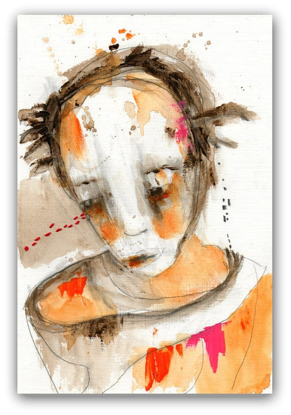 """Original Acrylic Mixed Media Portrait  Painting by Christina Romeo Title: """"If You Knew Me"""""""