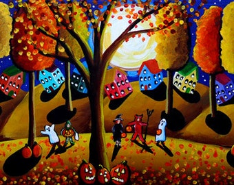 Fall Fun Halloween Witches Ghosts Kids Trick or Treat Whimsical Colorful Folk Art Original Painting