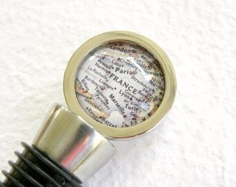 France Map Wine Bottle Stopper Stainless Steel Barware  - France featuring Paris, Lyon, Marseille, Brest, and Nantes