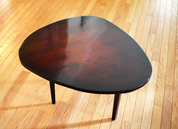 Modern Coffee Table Reclaimed Rubber Wood With Cherry Sunburst