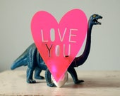 Love You night light in Neon Hot Pink