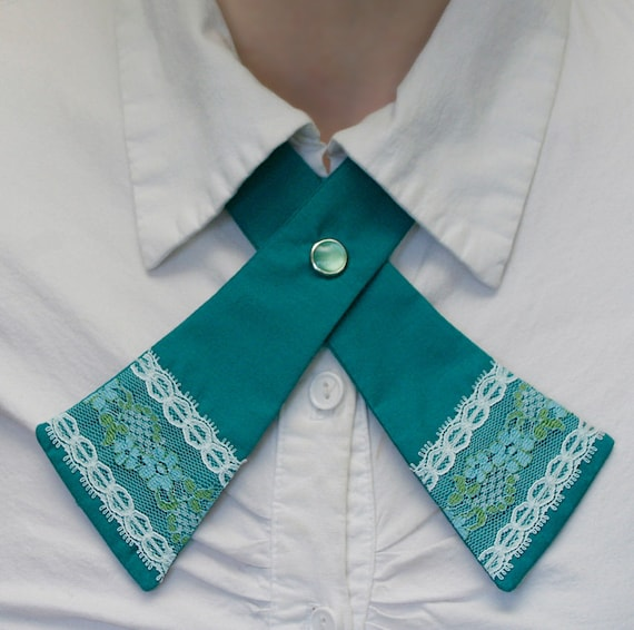 Womens Neck Tie - Teal - Lace