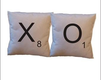 scrabble throw pillow cover, xo pillow cover