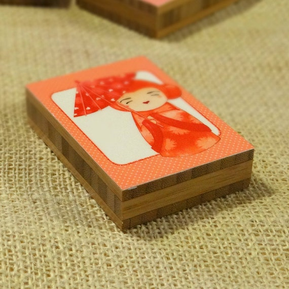 SALE Kokeshi Hearts 1 Mounted ACEO Print  - kokeshi doll cute decor gift plywerk nursery kids 2.5 x 3.5 inches