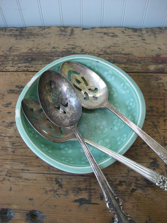3 Vintage Slotted Silverplate Spoons