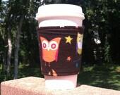 Flannel coffee cozy / cup holder / coffee sleeve  Fuzzy Owls