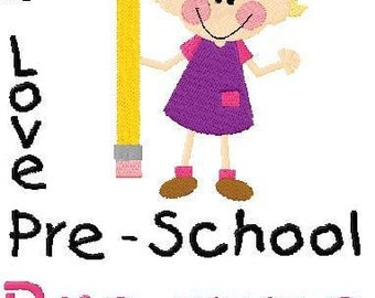 Back to School 1st First Day of School I Love Pre School T shirt Girl Gift Great To Wear All Year Long
