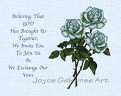 White Roses Christian Wedding Invitation: YOU PRINT Digital Download