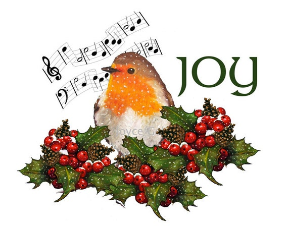 Printable Clipart, Christmas Joy, Robin Bird Holly, Berries, Snow, Music: Commercial Use, Holiday Art, Instant Digital Download